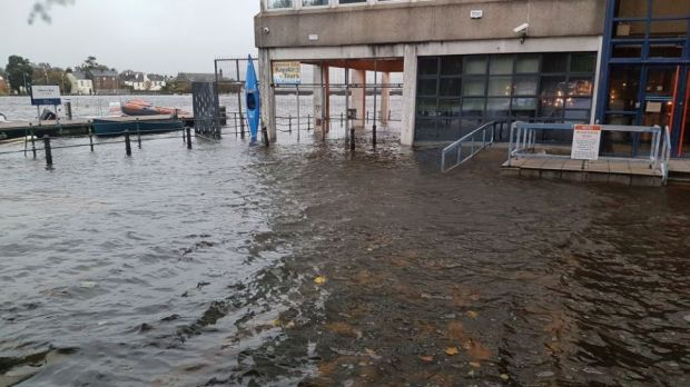 Flooding in front of Sarsfield House in Limerick. Photograph: @LimerickCouncil