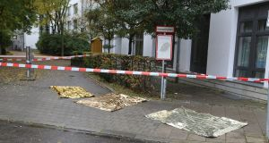 The crime scene is seen where a man injured several people in a knife attack in Munich.  Photograph: AFP