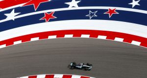 Lewis Hamilton  driving his  Mercedes  during practice for the US Formula One Grand Prix at Circuit of The Americas  in Austin, Texas. Photograph: Clive Rose/Getty Images