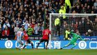 Huddersfield Town's Aaron Mooy scores their first goal during the Premier League game against Manchester United  at John Smith's Stadium. Photograph: Andrew Yates/Reuters