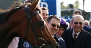 Trainer Aidan O' Brien  with  Hydrangea after winning  The QIPCO British Chahamions Fillies & Mares Stakes Race  at Ascot. Photograph:  Julian Herbert/PA Wire