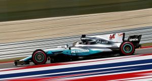 Lewis Hamilton in action during qualifying for the US Grand Prix at the Circuit of the Americas, in Austin, Texas. Photograph: Larry W Smith/EPA