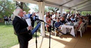 President Michael D Higgins addresses an Irish diaspora reception in Warwick, Queensland, that some of his relatives attended. Photographs: Maxwells