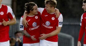 Rhys McCabe and Vinny Faherty both scored for Sligo Rovers in the 3-0 win over Derry City at the Showgrounds on Saturday night. Photograph: Bryan Keane/Inpho