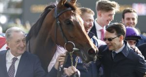 Trainer Aidan O'Brien  is congratulated after equalling the record for 25 Group One winners in a season at Ascot on QIPCO British Champions Day. Photograph: Getty Images