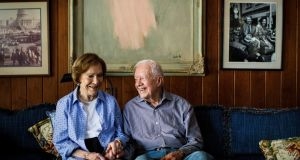 "Former president Jimmy Carter and Rosalynn Carter at home:  ""[Barack Obama] made some very wonderful statements, in my opinion, when he first got in office, and then he reneged on that."" Photograph: Dustin Chambers"