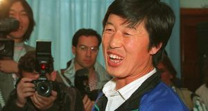 Chinese athletics coach Ma Junren at a press conference in Beijing, 1993. Photograph: Manuel Ceneta/AFP/Getty Images