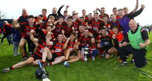 Ballygunner players and staff celebrate their victory over De la Salle in the Waterford SHC Final at  Walsh Park. Photograph: Ken Sutton/Inpho