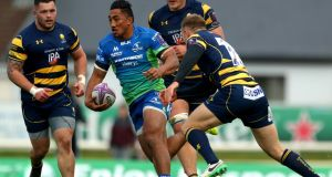 Connacht's Bundee Aki and Perry Humphreys of Worcester Warriors during their  European Rugby Challenge Cup round two encounter.  Photograph: James Crombie/Inpho