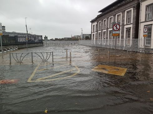Flooding at Limerick's Merchant's Quay Plaza after Storm Brian hit Ireland. Photograph: Limerick Council/PA Wire