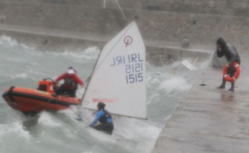 Irish youth sailing team pictured practicing during Storm Brian, Dunlaoghaire pier this afternoon .Pic Stephen Collins/Collins Photos