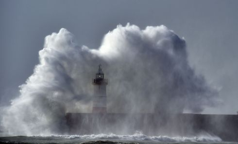 Waves crash over Newhaven Lighthouse on the south coast of England on October 21st, 2017. Photograph: AFP/Getty Images