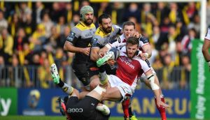 Ulster lock Iain Henderson is tackled during the  Champions Cup match against  La Rochelle at the Marcel Deflandre stadium. Photograph: Xavier Leoty/AFP/Getty Images