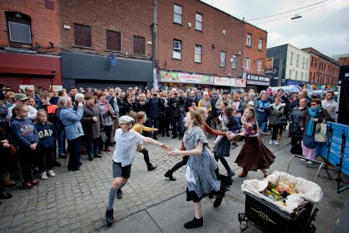 MOORE STREET PARTY: The Helen Jordan Stage School performing at the Moore Street Party which aims to celebrate the street's colourful history. Photograph: Tom Honan.