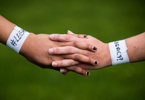 HOLD THE LINE: The 'Legacy?' wristbands worn by players from both sides during the meeting of Old Belvedere and Blackrock in Women's AIL Division 1 in Dublin. The bands form part of a protest against the IRFU's treatment of the women's game. Photograph: Oisin Keniry/Inpho