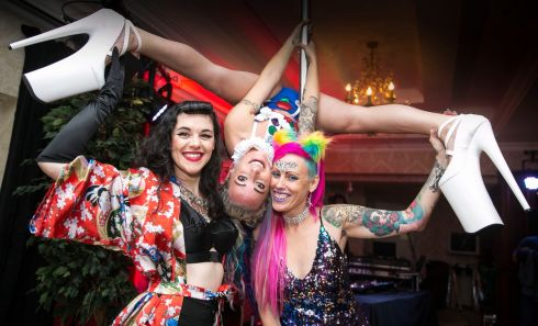 Miss Lavelle (The host of Limerick's Cabaret & Cabernet), Chrome Doll (Ennis) & The Pink Lady (Event organiser) at the first Wild Atlantic tattoo Show in The West Cork Hotel, Skibbereen. Photograph: Emma Jervis Photography