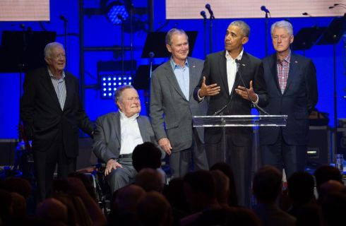 FANCY ANOTHER GO? Former US presidents Jimmy Carter, George HW Bush, George W Bush, Barack Obama and Bill Clinton attend the Hurricane Relief concert in College Station, Texas. Photograph: Jim Chapin/AFP/Getty Images