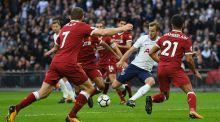 Harry Kane scores Tottenham's fourth goal in their comfortable win over Liverpool at Wembley. Photograph: David Ramos/Getty