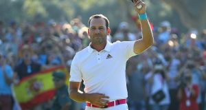 Sergio Garcia  celebrates victory after his final round at the Andalucia Valderrama Masters. Photograph: Warren Little/Getty Images
