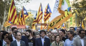 Carles Puigdemont, Catalonia's president, participates in a demonstration on Saturday against the Spanish government and the imprisonment of separatist leaders. Photograph: Bloomberg