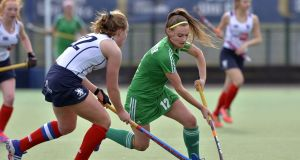 Ireland's Jessica McMaster: levelled for Ireland after Charlotte Watson had given Scotland. Photograph: Inpho