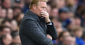 "Everton  manager Ronald Koeman: ""Yes I think I can [turn it around] but now is not the moment and everybody is so disappointed"". Photograph: Oli Scarff/AFP/Getty Images"