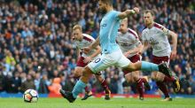 Sergio Aguero of Manchester City scores his side's first goal against Burnley at Etihad Stadium. Photograph: Alex Livesey/Getty Images