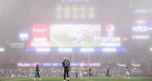 The New England Patriots beat the Atlanta Falcons in foggy Foxborough. Photograph: Billie Weiss/Getty