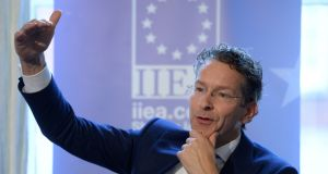 Jeroen Dijsselbloem, president of the Eurogroup, addressing the Institute of International and European Affairs  in Dublin. Photograph: Dara Mac Dónaill
