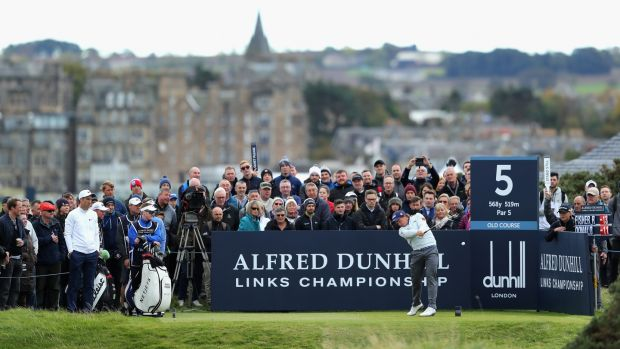Paul Dunne tees off on the 5th hole during the final round of the 2017 Alfred Dunhill Championship in St Andrews, Scotland. Photograph: Richard Heathcote/Getty Images
