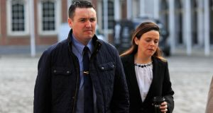 Garda Keith Harrison and his partner Marisa Simms arriving at the Charleton tribunal in Dublin. File photograph: Gareth Chaney Collins