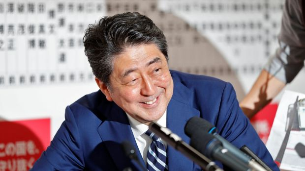 Japanese prime minister Shinzo Abe, leader of the Liberal Democratic Party (LDP), during a news conference after Japan's election, in Tokyo on Sunday. Photograph: Isse Kato/Reuters