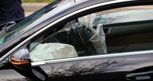 Airbags deployed in a Mercedes car outside Citywest Shopping Centre after the arrest of a man following a series of incidents in Tallaght. Photograph: Colin Keegan/Collins Dublin