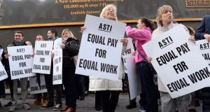 An ASTI protest outside Leinster House in 2016. Photograph: Eric Luke
