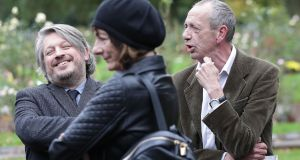 Richard Herring (left) and Arthur Smith at the funeral of comedian Sean Hughes at Islington and Camden Cemetery in London. Photograph: Yui Mok/PA Wire