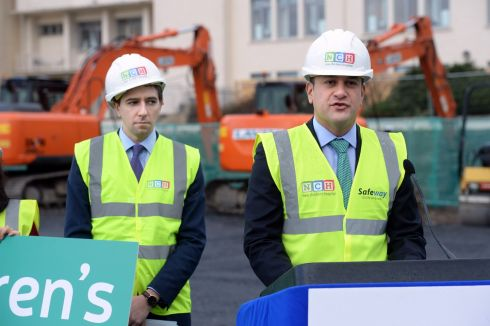 TURNING THE SOD: Minister for Health Simon Harris and Taoiseach Leo Varadkar mark the start of construction of the paediatric outpatient and urgent care centre at Connolly Hospital Blanchardstown; the facilities are satellites of the new national children's hospital, which is to be called Phoenix Children's Health. Photograph: Dara Mac Dónaill