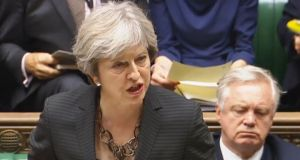 Prime minister Theresa May makes a statement to MPs in the House of Commons. Photograph: PA Wire