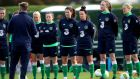 Republic of Ireland Women's squad during training ahead of their World Cup qualifier against Slovakia. Photograph:  Ryan Byrne/Inpho