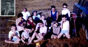 Rulebreakers: Back: Uncle Eddie, Aunty Eileen, Aunty Molly, mother Maura.  middle: cousin Eileen, cousin Fiona, sister Andrea, brother Gerard, brother Joe. front: David (me), brother Kenneth, cousin Eamon. Inset: dad Joe who took the photo.