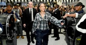Rihanna hosts a pep rally to celebrate the launch of the autumn-winter 2017 Fenty Puma by Rihanna collection at Bloomingdales on 59th Street. Photograph: Dimitrios Kambouris/Getty Images