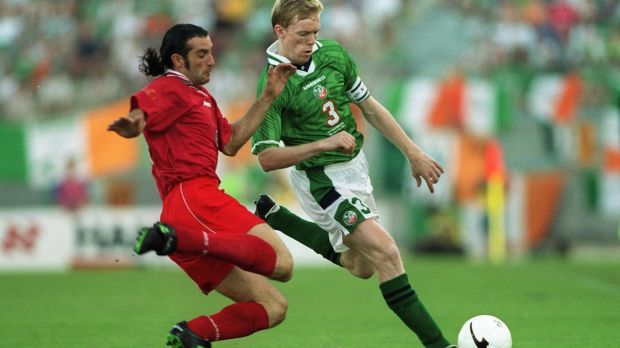 Malta's Darren Debono with Ireland's Steve Staunton in their European Championship qualifier in Valletta in 1999. Debono was arrested on the Italian island of Lampedusa on Friday and charged with being part of the illegal Malta-based network allegedly involved in fuel smuggling from Libya. He has not been accused of any crimes in connection with Daphne Caruana Galizia's murder. Photograph: Patrick Bolger/Inpho