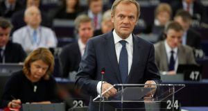 European Council president Donald Tusk during  a debate on the outcome of last week's European summit at the European Parliament in Strasbourg on Tuesday. Photograph: Christian Hartmann/Reuters