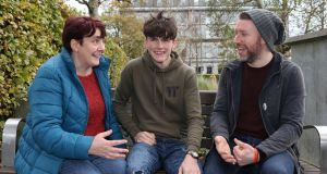 Emily Mulvihill with her son Eoin (15) and mentoring volunteer Brian Doherty in Galway. Photograph: Joe O'Shaughnessy