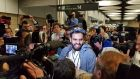 Ibrahim Halawa arrives in Dublin Airport after four years in an Egyptian jail. Photograph: Hajar Akl