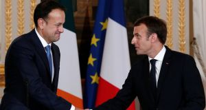 French president Emmanuel Macron (right) shakes hands with Taoiseach Leo Varadkar after a joint press conference at the Elysee Palace in Paris, France  on Tuesday. Photograph: Reuters