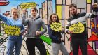 UCD Students' Union president Katie Ascough (second from right) in a promotional picture released as part of her campaign against an impeachment bid.
