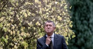 ANO leader Andrej Babis  at Lany Castle after a meeting with Czech president Milos Zeman following the general election. Photograph: EPA/Martin Divisek