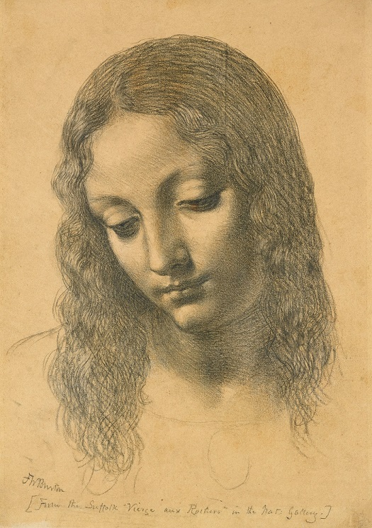 For the Love of Art: Frederic William Burton's copy of the head of the Virgin from Leonardo da Vinci's Virgin of the Rocks. Photograph © Ashmolean Museum, University of Oxford