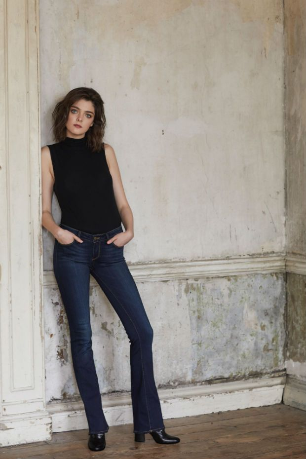 f102672334a4 Laura wears jersey turtle neck top, €140 from Theory; Manhattan bootcut  jeans, €255 from Paige Denim; and heeled boots, €970 from Gianvito Rossi