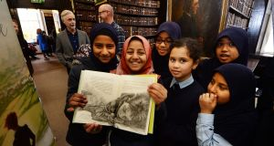 "Jumanah Nahari  with  fellow pupils from the North Dublin Muslim School at the launch of ""Once Upon a Time"" by  Eoin Colfer and illustrator PJ Lynch. Photograph: Cyril Byrne"